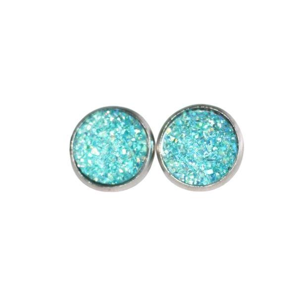 turquoise druzy stud earrings