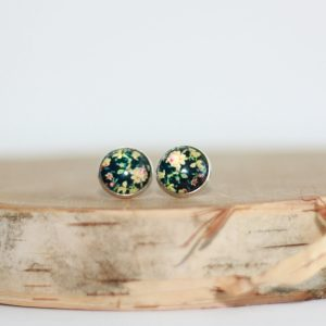 black floral stud earrings