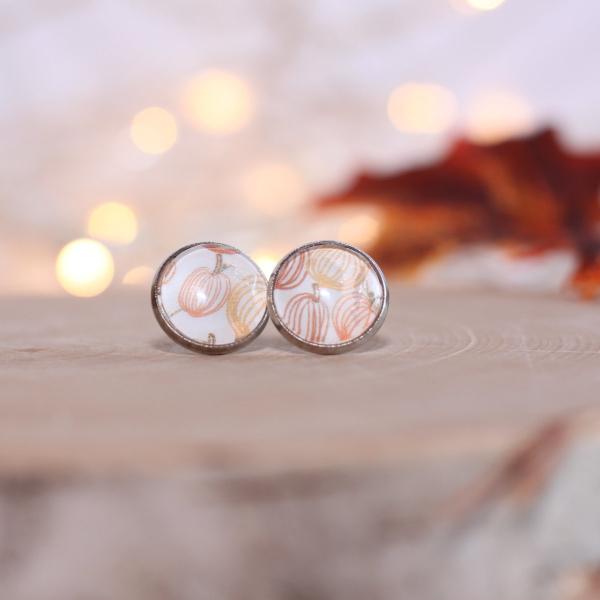 autumn pumpkin stud earrings