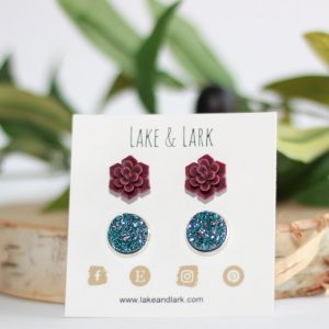 burgundy succulent fall earrings