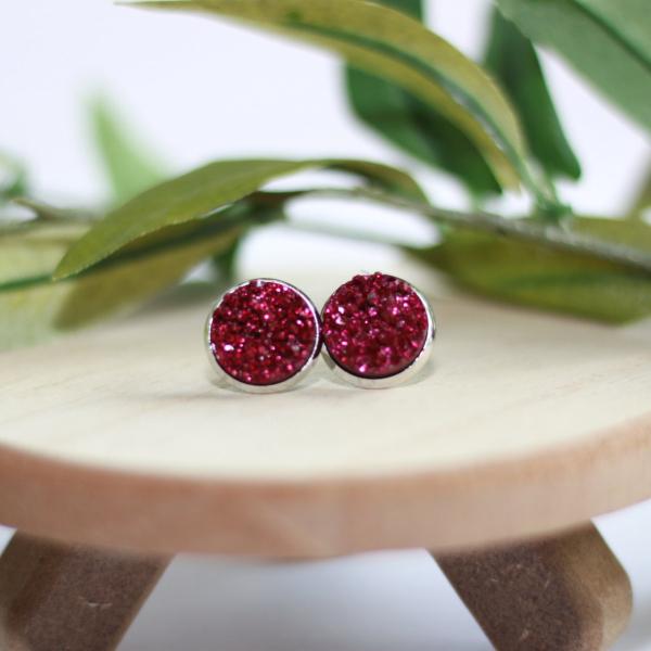 ruby red druzy stud earrings