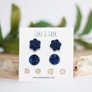 navy succulent druzy stud earring gift set
