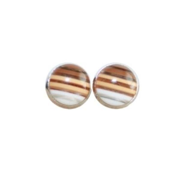brown stripe stud earrings