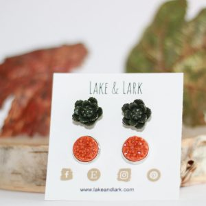 olive green pumpkin spice earrings