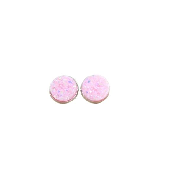 pale pink druzy stud earrings