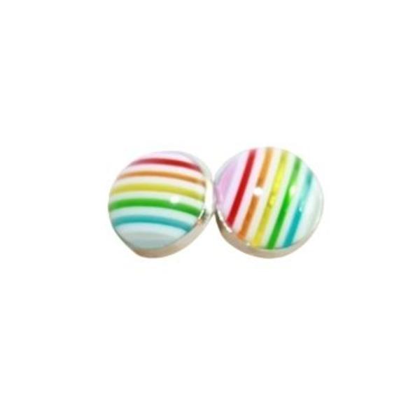 pastel rainbow stripe stud earrings