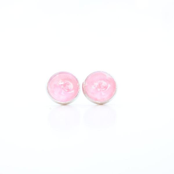 pink peony stud earrings