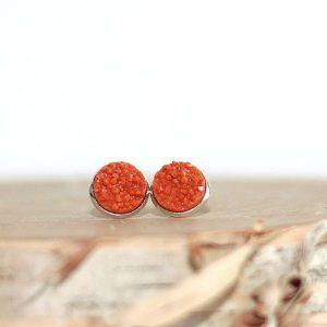 orange pumpkin fall stud earrings