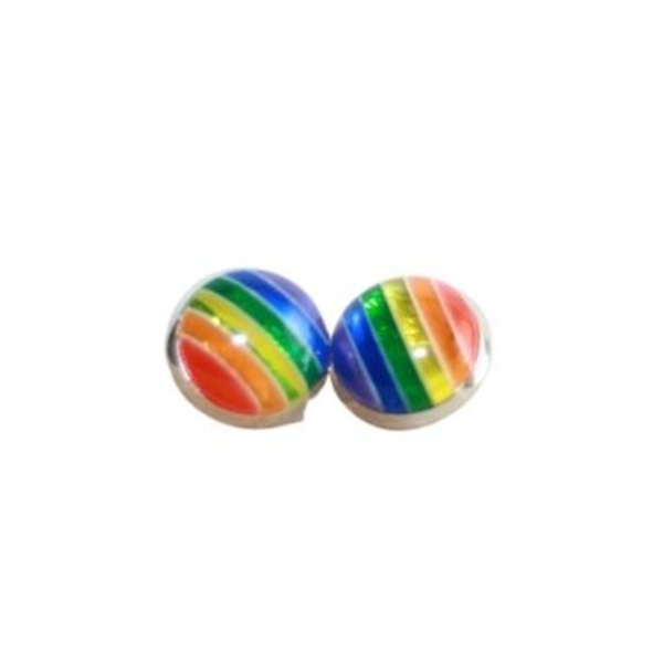 rainbow circle stud earrings