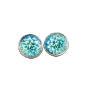 mint succulent stud earrings