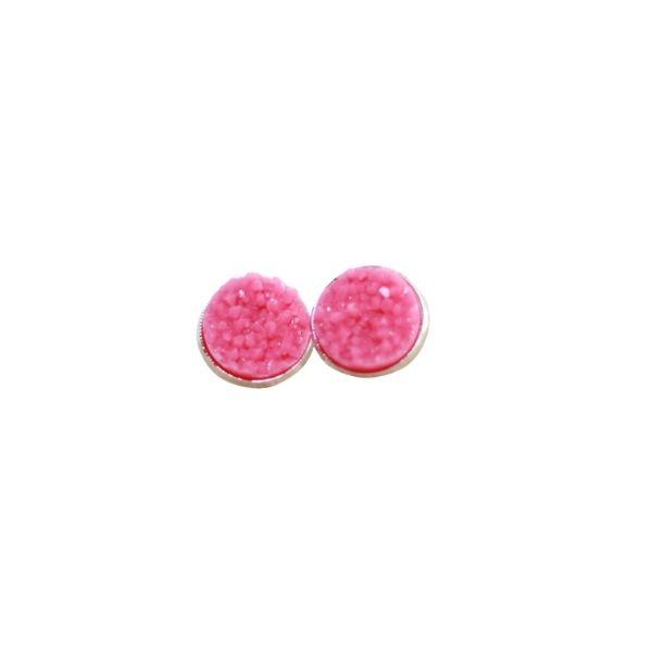 watermelon pink druzy stud earrings
