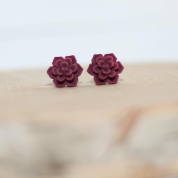 burgundy stud earrings