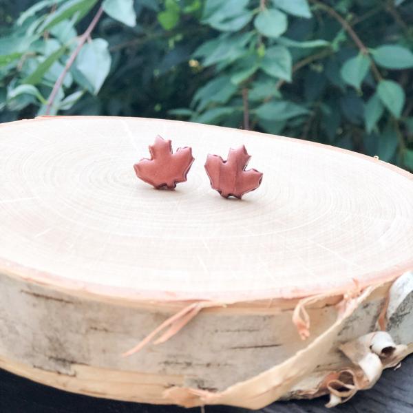 fall leaf clay stud earrings