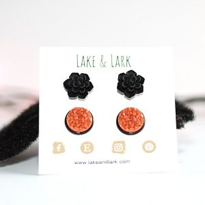 black succulent stud earrings