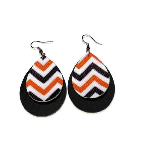 faux leather chevron halloween statement earrings