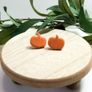 clay pumpkin halloween earrings
