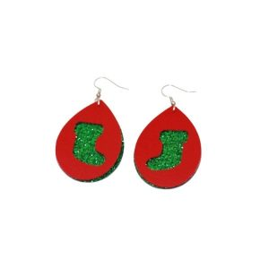 glitter christmas stocking earrings