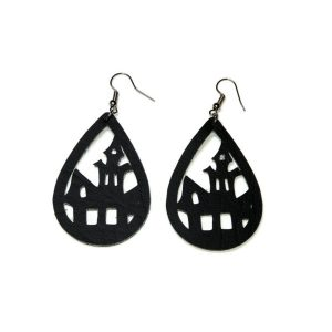 black haunted house statement earrings