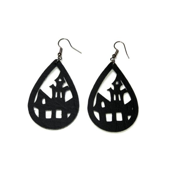 black haunted house statement earrings