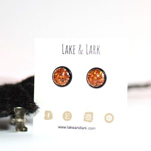 black orange halloween stud earrings