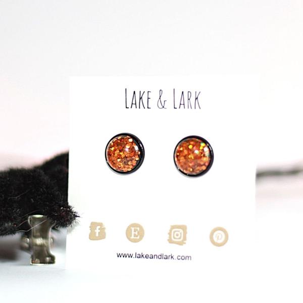 black orange halloween stud earrings