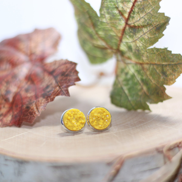 golden yellow sparkly stud earrings