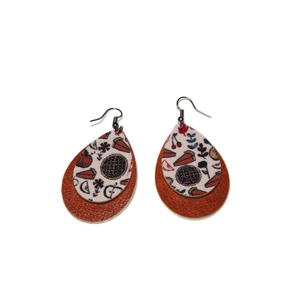 faux leather thanksgiving teardrop earrings