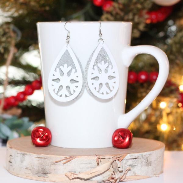 snowflake teardrop christmas earrings