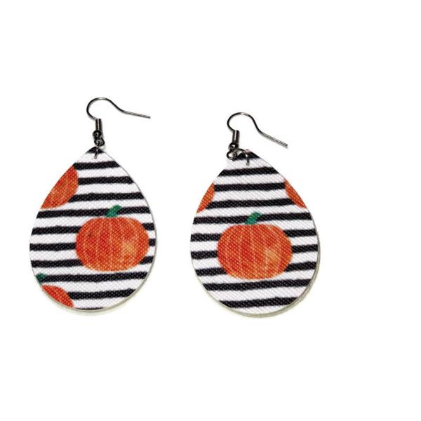 faux leather pumpkin halloween earrings