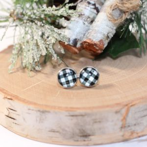 black white plaid earrings