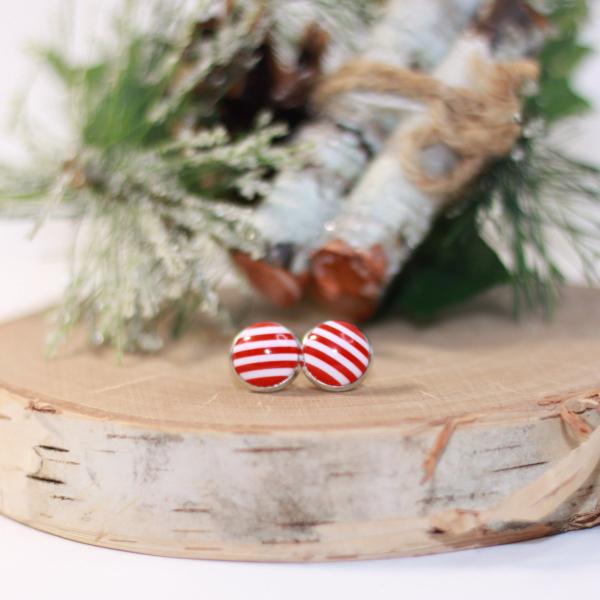 candy cane christmas stud earrings
