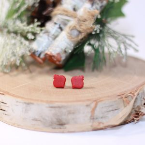 clay red christmas ornament stud earrings