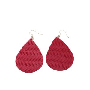 ruby red braided leather earrings