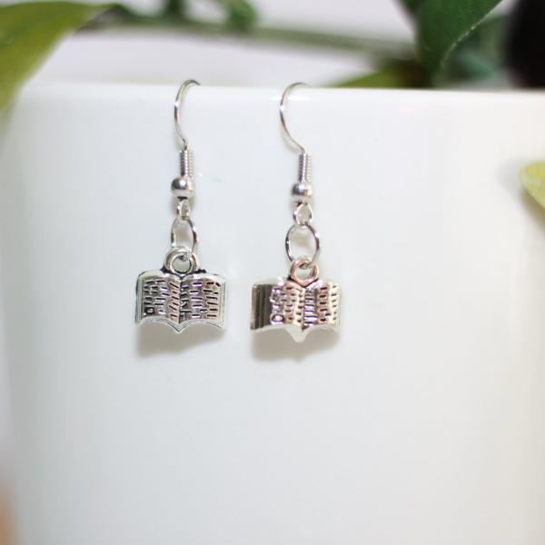 silver charm book earrings