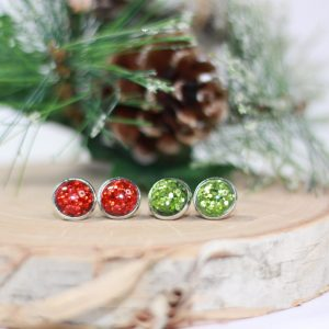 red green christmas earrings