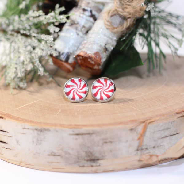 peppermint candy stud earrings lake and lark