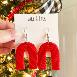 polymer clay red christmas arch earrings