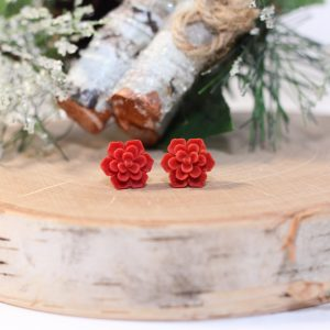 christmas flower stud earrings