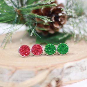 red green earring gift set