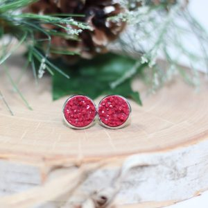 cranberry red chunky gemstone earrings