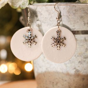 polymer clay winter snowflake earrings