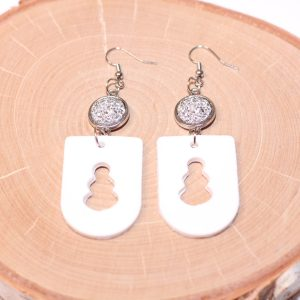 clay snowman silver druzy earrings