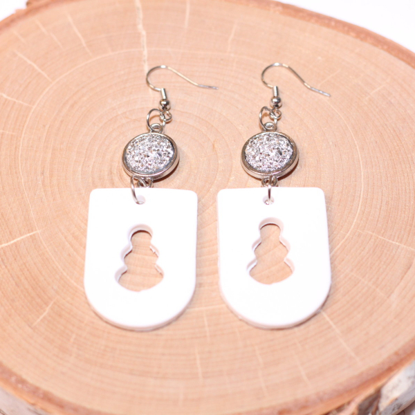 clay snowman silver druzy earrings