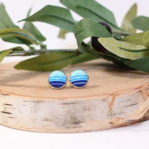 blue stripe stud earrings
