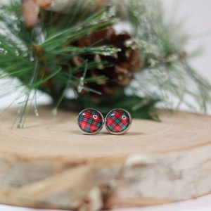 red green plaid earrings