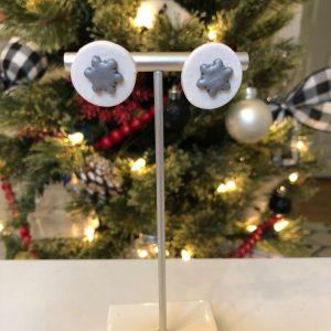 silver white snowflake earrings