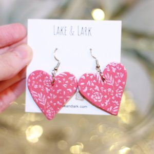 blush pink valentine heart statement earrings