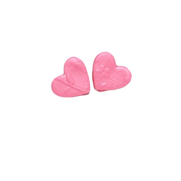 clay pink heart stud earrings