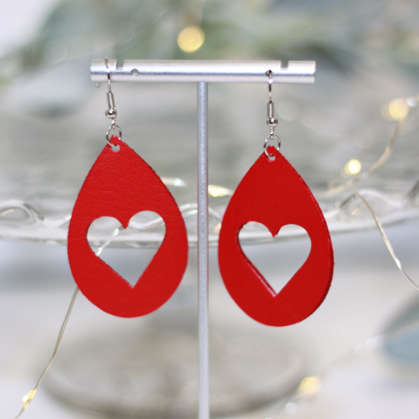 faux leather valentine heart statement earrings lake and lark