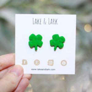 4 leaf clover st patricks day earrings